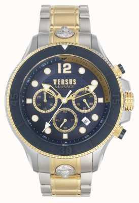 Versus Versace Volta masculina versus | pulseira de aço bicolor | mostrador azul VSPVV0520
