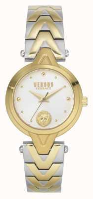 Versus Versace V_versus forlanini feminino | pulseira de aço bicolor | mostrador prateado VSPVN1020
