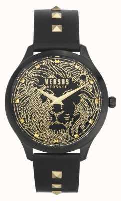 Versus Versace Domus feminino | pulseira de couro preta | mostrador preto VSPVQ0520