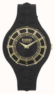 Versus Versace Ilha do fogo das mulheres | pulseira de silicone preta | mostrador preto VSP1R1020
