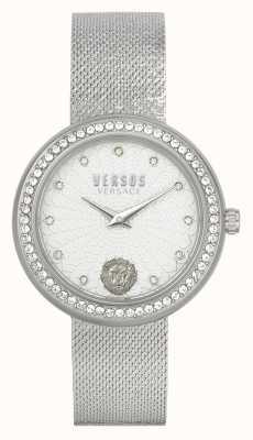 Versus Versace | mulheres | lea | aço inoxidável | pulseira de malha | mostrador prateado | VSPEN1420
