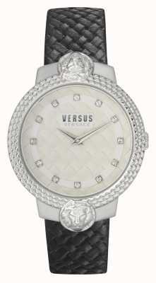 Versus Versace | mulheres | mouffetard | pulseira de couro preta | mostrador branco | VSPLK1120