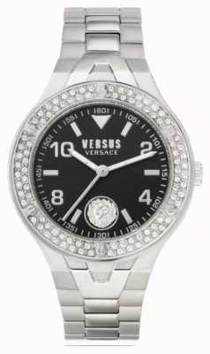 Versus Versace Vittoria feminina | pulseira de aço inoxidável | mostrador preto VSPVO0520