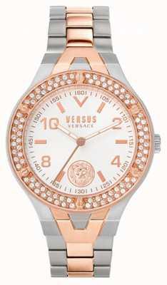 Versus Versace Vittoria feminina | pulseira de aço bicolor | mostrador branco VSPVO0620