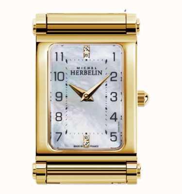 Michel Herbelin Antarès | apenas mostrador de relógio banhado a ouro | mostrador retângulo H.17048/P79