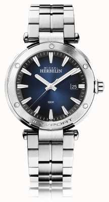 Michel Herbelin Newport masculino | pulseira de aço inoxidável | mostrador azul 12288/B15