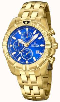 Festina Mostrador desportivo crono banhado a ouro azul F20356/2