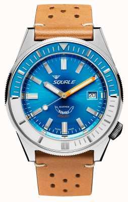 Squale Matic xse | mostrador azul de aço | pulseira de couro cor de camelo MATICXSE00-CINU1565CM