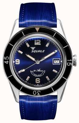 Squale 60 anos azul | sub-39 | pulseira de couro azul | mostrador azul SUB39BL-CINSQ60BL