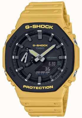 Casio | g-shock | núcleo de carbono | moldura em camadas | pulseira de borracha amarela | GA-2110SU-9AER