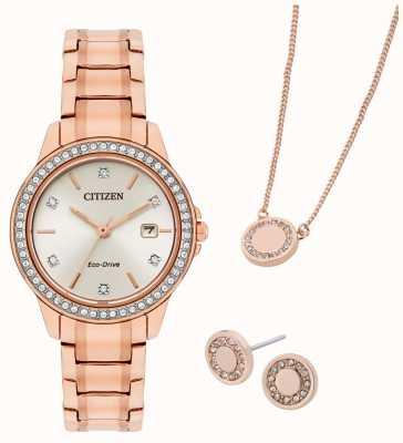 Citizen Conjunto de joias e relógio folheado a ouro rosa Eco-drive FE1173-52A