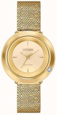 Citizen Ambiluna das mulheres | pulseira em malha dourada | mostrador de champanhe EM0642-52P