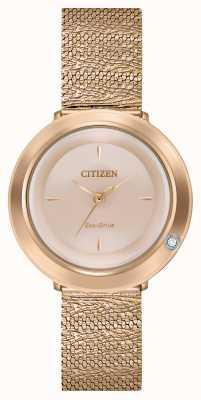 Citizen Ambiluna das mulheres | pulseira em malha de ouro rosa | madrepérola mostrador EM0643-50X