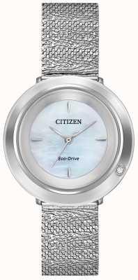 Citizen Ambiluna das mulheres | pulseira em malha de aço | madrepérola mostrador EM0640-58D