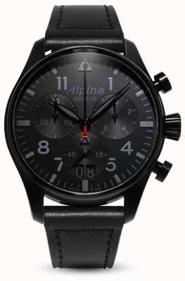 Alpina Startimer piloto chrono | pulseira de couro preta AL-372BB4FBS6