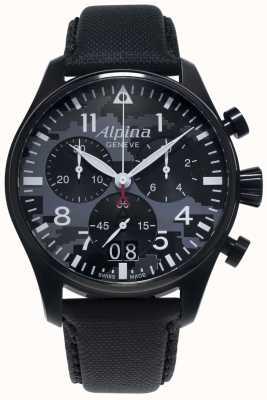 Alpina Startimer piloto chrono | pulseira sintética preta | mostrador cinza AL-372BMLY4FBS6