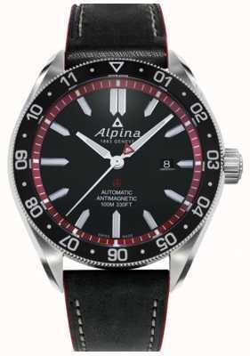Alpina Alpiner 4 | pulseira de couro preta | mostrador preto | automático AL-525BR5AQ6