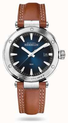 Michel Herbelin Newport | pulseira de couro marrom | mostrador azul 12288/15GON