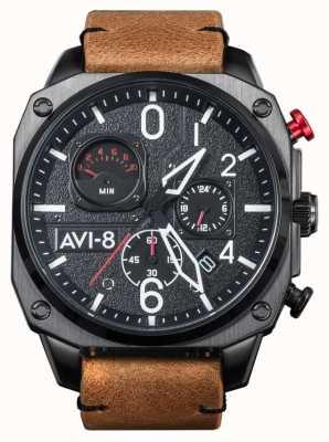AVI-8 Hawker hunter | cronógrafo | pulseira de couro marrom AV-4052-02