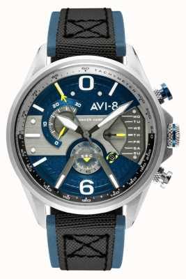 AVI-8 Hawker harrier ii | cronógrafo | mostrador azul | pulseira de couro preto nato azul AV-4056-01