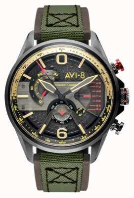 AVI-8 Hawker harrier ii | cronógrafo | mostrador cinza | pulseira de couro marrom verde nato AV-4056-03
