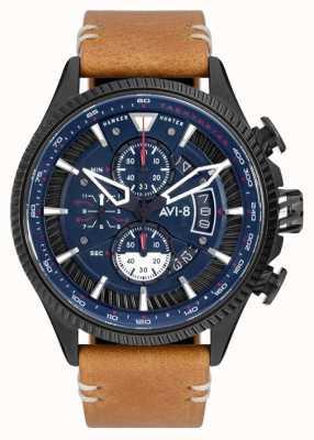AVI-8 Hawker hunter | cronógrafo | mostrador azul | pulseira de couro marrom AV-4064-01