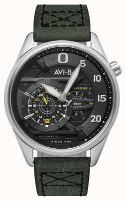 AVI-8 Hawker harrier ii - ás de espadas | automático | pulseira de couro verde AV-4070-01