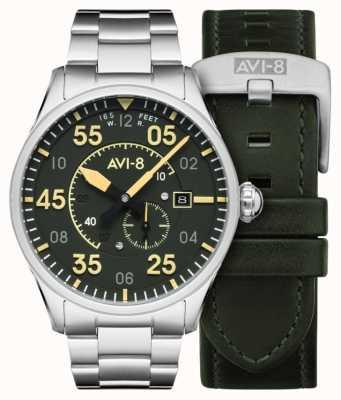 AVI-8 Spitfire | automático | pulseira de aço inoxidável com mostrador verde | pulseira de couro extra AV-4073-22