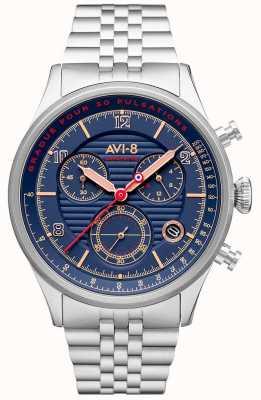 AVI-8 Flyboy lafayette | cronógrafo | mostrador azul | pulseira de aço inoxidável AV-4076-22