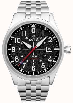 AVI-8 Flyboy | automático | mostrador preto | pulseira de aço inoxidável AV-4075-11