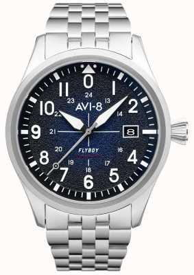 AVI-8 Flyboy | automático | mostrador azul | pulseira de aço inoxidável AV-4075-22