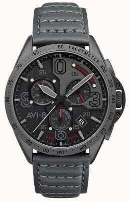 AVI-8 Mustang P-51 | cronógrafo | mostrador cinza | pulseira de couro cinza AV-4077-03