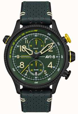 AVI-8 Hawker hunter | cronógrafo | mostrador verde | pulseira de couro verde AV-4080-03