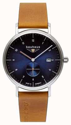 Bauhaus Pulseira de couro marrom italiano masculino | mostrador azul 2130-3