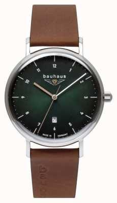 Bauhaus Pulseira de couro marrom italiano masculino | mostrador verde 2140-4