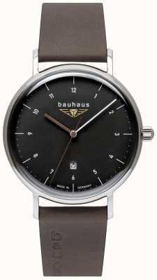 Bauhaus Pulseira de couro italiano cinza masculino | mostrador preto 2142-2
