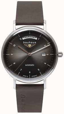 Bauhaus Pulseira de couro preto italiano masculino | mostrador preto | automático | dia / data 2162-2