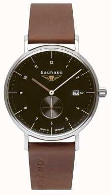 Bauhaus Pulseira de couro marrom italiano masculino | mostrador preto 2132-2