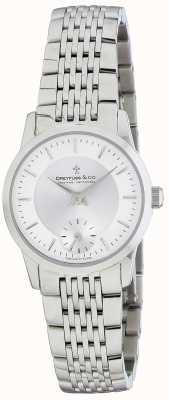 Dreyfuss Relógio de pulseira de aço inoxidável de prata para mulher DLB00001/02