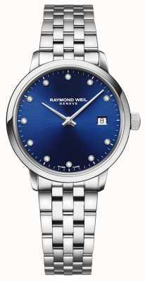 Raymond Weil Toccata   11 diamante mostrador azul   pulseira de aço inoxidável 5985-ST-50081