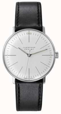 Junghans Max bill | enrolamento manual | pulseira de couro preta | mostrador prateado 027/3700.04