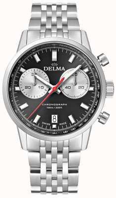 Delma Cronógrafo continental | pulseira de aço | mostrador preto 41701.704.6.031