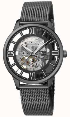 Festina Esqueleto automático masculino | pulseira de malha preta | mostrador preto F20535/1