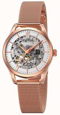Festina Esqueleto automático feminino | pulseira de malha de ouro rosa F20539/1
