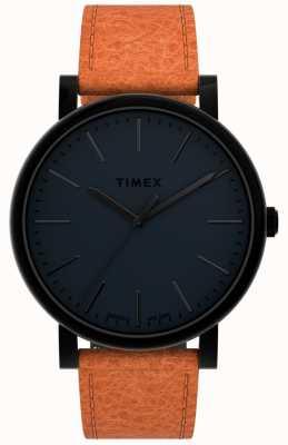 Timex Originais 42mm | mostrador preto | pulseira de couro bronzeado TW2U05800
