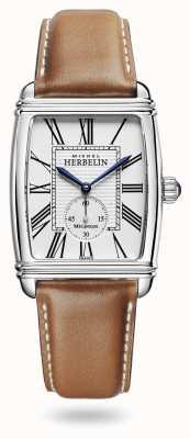 Michel Herbelin Art déco | automático | pulseira de couro marrom mostrador prata 1938/08GO