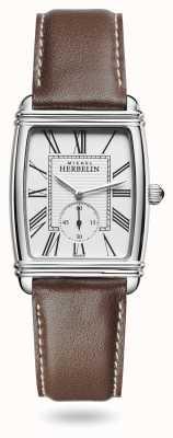 Michel Herbelin Mulheres | art déco | mostrador prateado | pulseira de couro marrom 10638/08MA