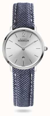 Michel Herbelin Cidade | pulseira de brim azul | mostrador prateado 16915/11JN