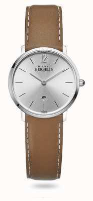 Michel Herbelin Cidade | mostrador prateado | pulseira de couro marrom 16915/11GO