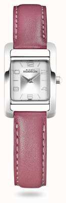Michel Herbelin Avenida V | pulseira de couro rosa | mostrador prateado 17437/21ROZ